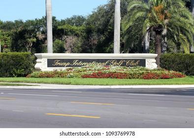 WEST PALM BEACH, FL, USA - APRIL 25: An Entrance to Trump International Golf Club in West Palm Beach, Florida on April 25, 2018. Trump International Golf Club is owned by President Donald J. Trump.