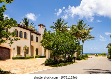 West Palm Beach, FL, USA - May 22, 2021: Photo of a luxury single family house in West Palm Beach Florida USA