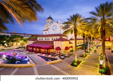 WEST PALM BEACH, FLORIDA - APRIL 3, 2016: The plaza at CityPlace. The mixed-use development is an upscale downtown lifestyle center opened in 2000.