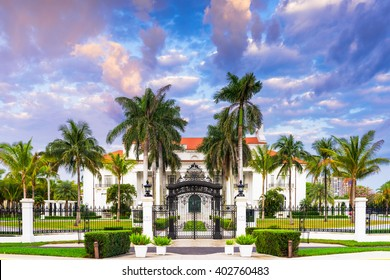 WEST PALM BEACH, FLORIDA - APRIL 4, 2016: The Flagler Museum exterior and grounds. The beaux arts mansion was constructed by Henry Flagler.