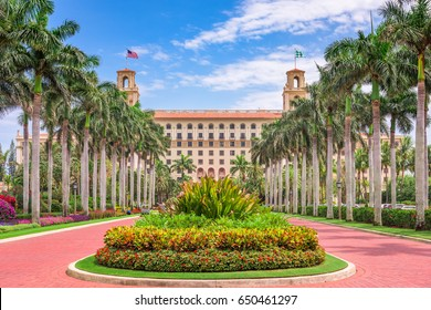 WEST PALM BEACH, FLORIDA - APRIL 4, 2016: The exterior of Breakers Hotel in West Palm Beach. The hotel dates from 1925.