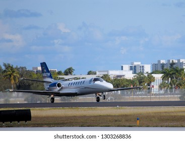 WEST PALM BEACH, FLORIDA - January 19, 2019:A Cessna 560 Citation Ultra taking off  in Boca Raton, FL.