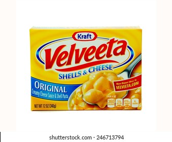WEST PALM BEACH, FLORIDA - January 24, 2015: Nice Image of a box of Kraft Velveeta  Shells and Cheese Original.  The yellow box has blue and red accents. Kraft is headquartered in Chicago, Illinois.