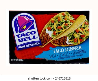 WEST PALM BEACH, FLORIDA - January 24, 2015: Image of a box of Taco Bell Taco Dinner. The box shows the Taco Bell logo and a photo of a taco filled with beef, lettuce, tomatoes, cheese and sour cream.