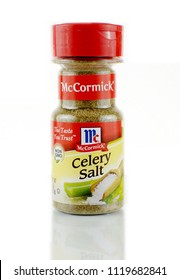 WEST PALM BEACH, FLORIDA - June 17, 2018: Illustrative editorial image of a jar of McCormick celery salt with a red label. McCormick is an American company that manufactures spices,  and seasonings