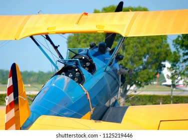 WEST PALM BEACH, FLORIDA - June 14, 2009:A Boeing Stearman blue and yellow world war II American trainer aircraft cockpit details