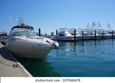 WEST PALM BEACH, FLORIDA - MARCH 21, 2018: Sailboats and yachts at Sailfish Marina in Florida. Sailfish Marina Resort is a favorite docking in the Palm Beaches