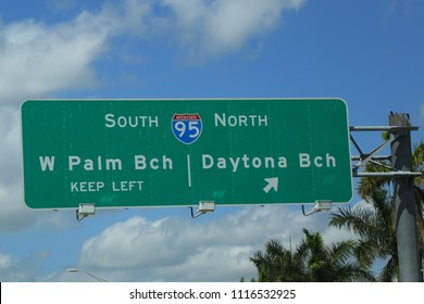 WEST PALM BEACH, FLORIDA  - MARCH 21, 2018: West Palm Beach exit sign on Interstate 95 in Florida