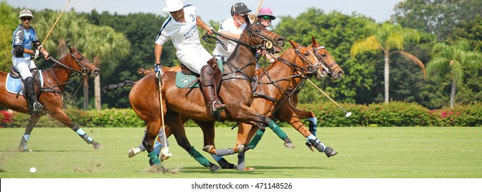 WEST PALM BEACH, FLORIDA - March 26, 2016: Match between Goose Creek and Airstream at the International Polo Club of Palm Beach in Wellington, Florida. Sized for popular social media website banner