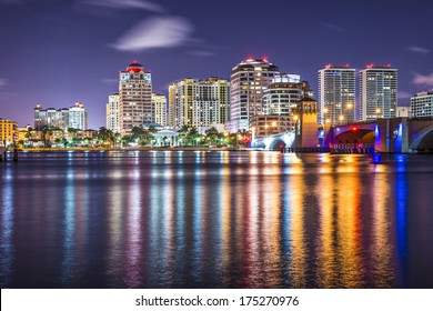 West Palm Beach, Florida nighttime skyline.