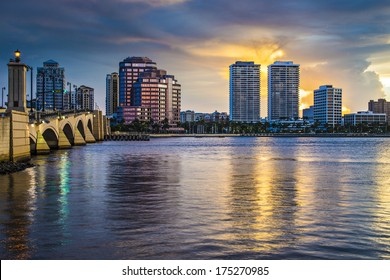 West Palm Beach, Florida skyline at sunset.