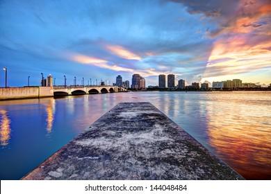 West Palm Beach Florida at sunset.