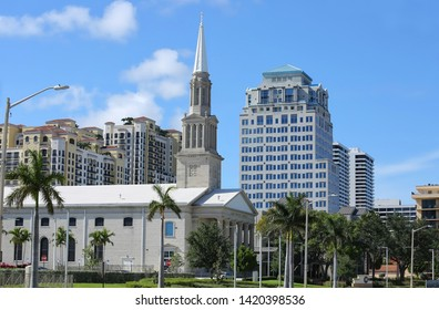 WEST PALM BEACH, FLORIDA, USA - APRIL:  Located on the downtown campus, the Family Church on Flagler Drive was founded as the First Baptist Church and built in 1965, as seen on April 13, 2019.