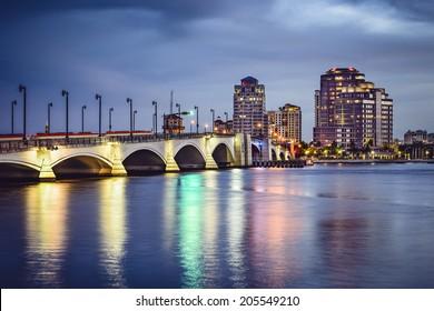 West Palm Beach Florida, USA downtown cityscape.