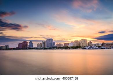 West Palm Beach, Florida, USA city skyline on the Intracoastal Waterway.