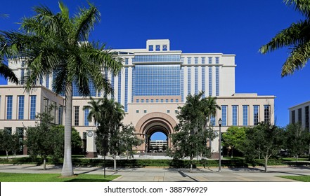 WEST PALM BEACH, FLORIDA/USA - May 8, 2015: The architecturally beautiful Palm Beach County Courthouse, on May 8, 2015 in downtown West Palm Beach, Florida, the center of government affairs.