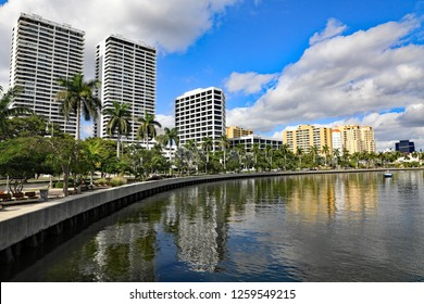 WEST PALM BEACH, FL/USA - DECEMBER 16, 2018:  The beautiful and changing skyline of downtown West Palm Beach, Florida, along the waterfront, and the Lake Worth Lagoon.