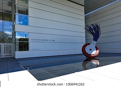 WEST PALM BEACH, FL/USA - FEBRUARY 6, 2019:  The newly renovated Norton Museum of Art in downtown West Palm Beach, Florida, on opening day following a $100 million upgrade.