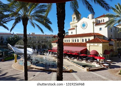 WEST PALM BEACH, FL/USA - FEBRUARY 6, 2019:  CityPlace in downtown West Palm Beach, Florida, a popular destination with dining, shopping, and outdoor seating.