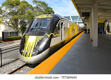 WEST PALM BEACH, FL/USA - JANUARY 19, 2018:  The new high-speed train, called Brightline connecting West Palm Beach, Florida and Ft. Lauderdale, and soon Miami, and Orlando.