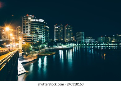 The West Palm Beach skyline seen from the Royal Palm Bridge at night, in West Palm Beach, Florida.