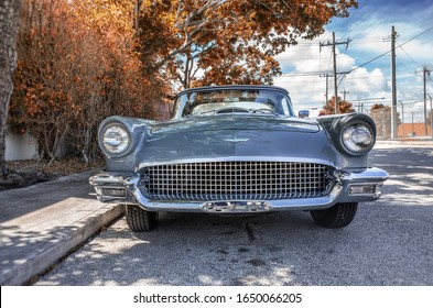 WEST PALM BEACH, UNITED STATES - Nov 15, 2019: This is a classic Ford Thunderbird parked in West Palm Beach, Florida.