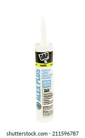 West Point - August 17, 2014: Tube of DAP brand Acrylic latex caulk with silicone