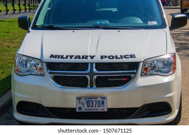 West Point, New York - August 30, 2019: A White military police van was seen parked near the parade field at the West Point Military Academy.