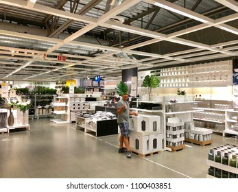 WEST SACRAMENTO, CA, USA - MAY 29, 2018: Ikea Store interior, warehouse aisle in the world's largest furniture retailer.