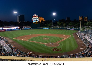 WEST SACRAMENTO, CA/U.S.A. - JUNE 29, 2018: A photo of Raley Field minor league baseball stadium during a River Cats versus Fresno Grizzlies baseball game.