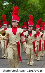 WEST SAINT PAUL, MN/USA – MAY 19, 2018: Students of Henry Sibley High School Marching Band perform during annual West Saint Paul Days parade.