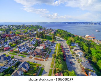 West Seattle expensive real estate with water view neighborhood aerial shot.