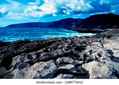 West Shore, eroded lava formations, inter-tidal zone, Oahu, Hawaii, USA