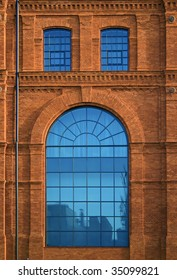 West side of andel's Hotel in Lodz - Central Europe, Poland. Historic factory building style.