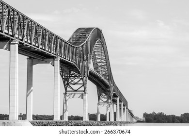 West side of the bridge structure Laviolette in Three- Rivers, Quebec, Canada B / W picture.