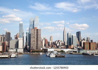 The west side of Manhattan Midtown and waterfront by Hudson River (New York City).