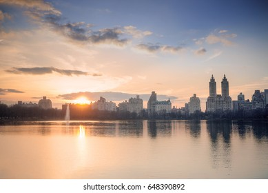 West side Manhattan's skyline as seen from Central Park's Onassis Reservoir