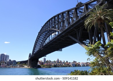 West side of Sydney harbour bridge with Sydney city north side and blue sky in the background for copy space.