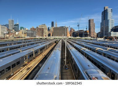 The West Side Train Yard for Pennsylvania Station in New York City from the Highline. View of the railcars for the Long Island Railroad. The future site of the Hudson Yards Redevelopment Project.