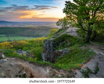 West Slovakia hilltop view in sunset