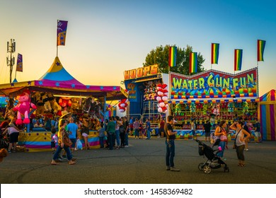 West Springfield, MA - 9/16/17: Attendees of the Big E enjoy carnival games