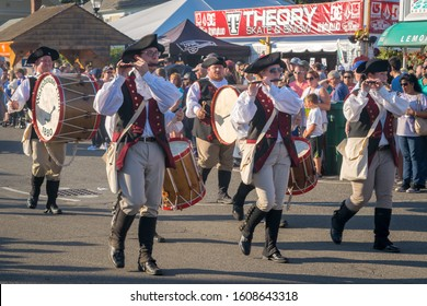 West Springfield, MA - 9/16/17: A drum and fife band marches in a parade at the Big E