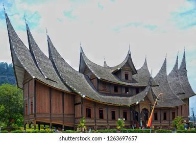 WEST SUMATRA, Indonesia - DECEMBER 21, 2018 : Pagaruyung Palace is the istana (royal palace) of the former Pagaruyung Kingdom, located near Batusangkar town, Tanah Datar Regency, West Sumatra.