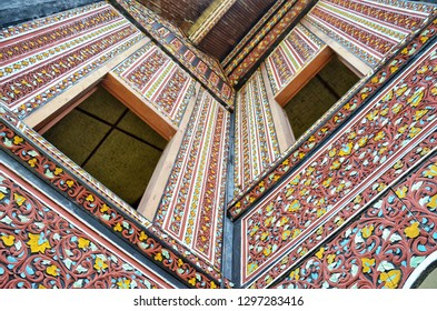 WEST SUMATRA, Indonesia - JANUARY 28, 2019 : Beauty of engraving on wall of Gadang house in West Sumatra, Indonesia.