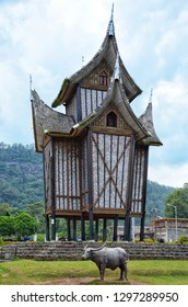 WEST SUMATRA, Indonesia - JANUARY 28, 2019 : The rangkiang or rice barn of the Minangkabau people used to keep rice in West Sumatra. It is a distinctive feature of Minangkabau architecture.