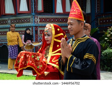 WEST SUMATRA, Indonesia - JULY 10, 2019 : The welcome ceremony of Minang ethnic guests in West Sumatra, Indonesia.