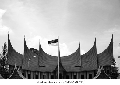 WEST SUMATRA, Indonesia - JULY 23, 2019 : Minangkabau Culture Documentation and Information Center in the city of Padang Panjang, West Sumatra. Black and white.