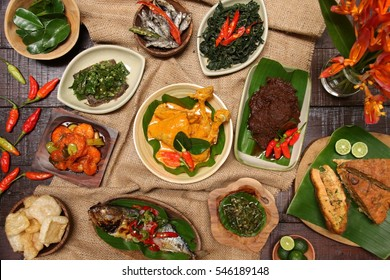 West Sumatran Rijsttafel. An array of traditional dishes from Padang, West Sumatra; serving its most popular food dishes.