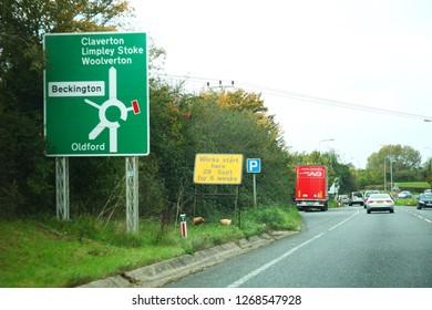WEST SUSSEX, ENGLAND - OCT, 18: Single carriage way to bath with traditional direction signage for purpose of road safety for driver road user on October 18, 2015 in West Sussex, England.