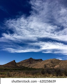West Texas Glass Mountain Landscape White Clouds Blue Skies
